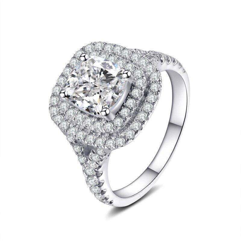2ct Carat luxe anneaux ronds jaune CZ bague de fiançailles de mariage SONA S925 argent Sterling or blanc couleur femmes bijoux - 4