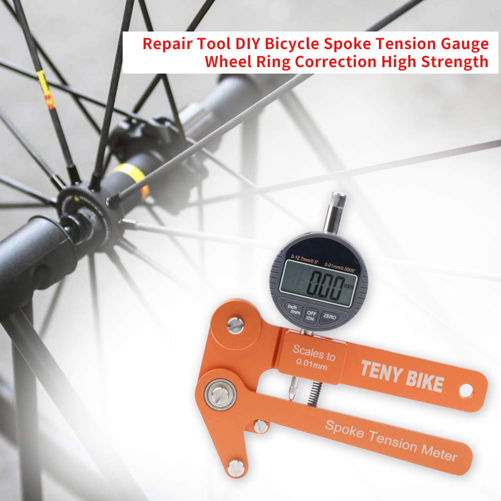 Repair Tool DIY Practical Home Analog Aluminum Alloy Bicycle Spoke Tension Gauge High Strength Wheel Ring Correction Durable