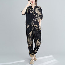 Black Print Two Piece Set 2020 Summer Casual Losoe Women Sets Clothes Shirts And Harem Pants 2 Peice Set Woman(China)