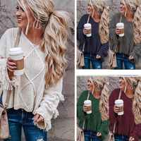 Women's Sweater Loose Knitting O-neck Flare Sleeve Tassel Patchwork Ladies Tops 2019 Autumn Winter Casual Sweaters Pullovers