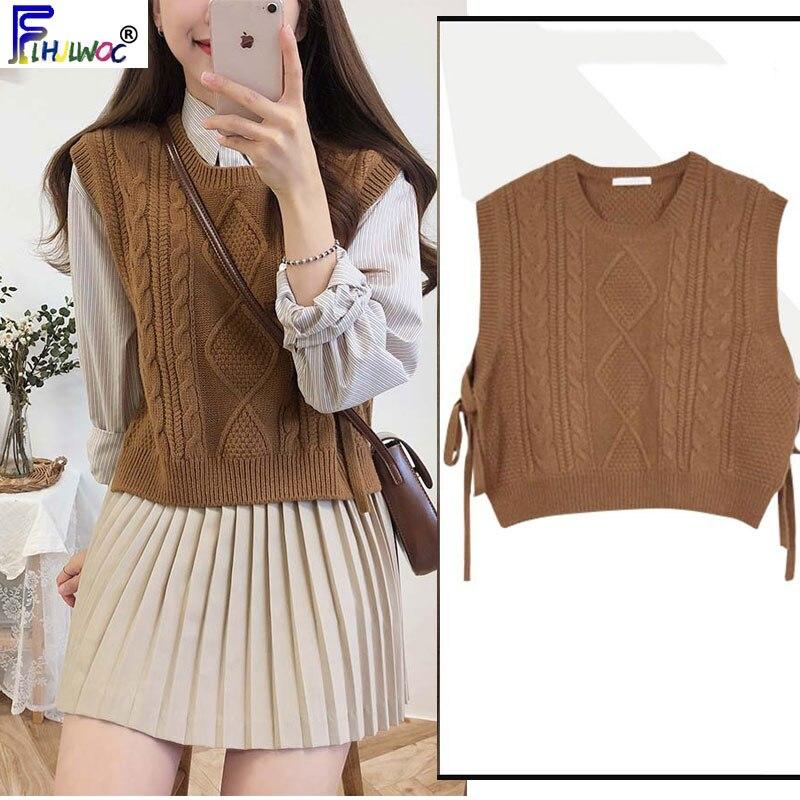 Winter Spring Basic Wear Tops Knitted Sweater Women Fashion Sleeveless Vest Design Brown Knitting Vest Korea Style 9802