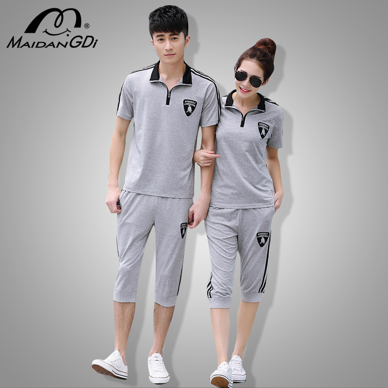 2 Pcs Sets For Men 2020 Summer New Short-sleeved Couple Suit Gym Sports Clothing Male's And Women's Running T-shirt Sportswear