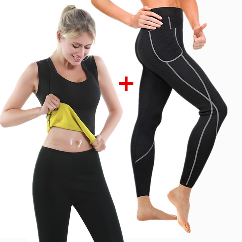 2020 New Women Yoga Sport Suit Slimming Pants Set 2Piece Female Slimming Shirt Vest Sportswear Running Fitness Training Clothing image