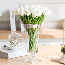 Tulips Flowers White Bouquet Wedding-Decoration Bridesmaid Garden Real-Touch Artificial