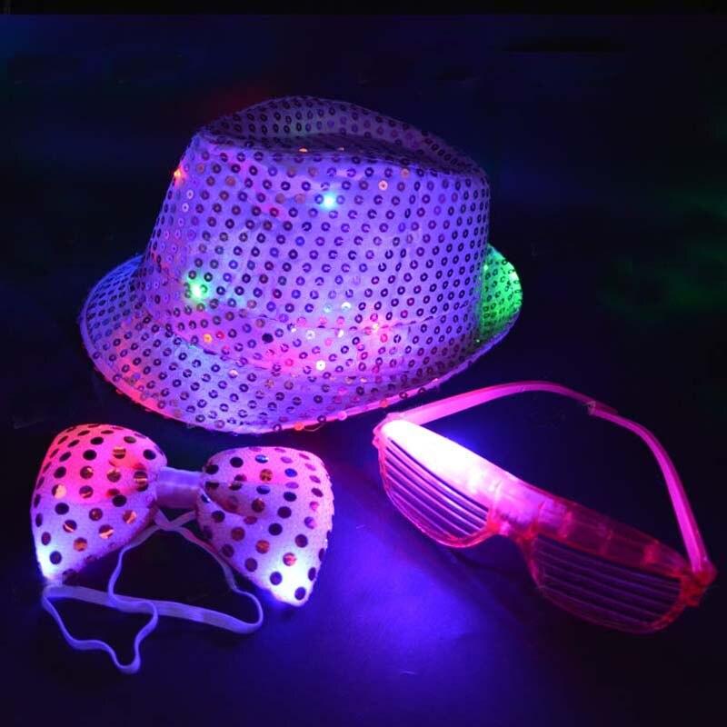 Fedora Blink Sequin Light Jazz Cap Hip Hop Hat Glasses Tie Glow Neon Party Carnival Night Club Bar Wedding Birthday Gift Props