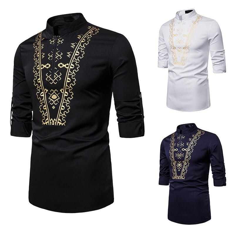 African Shirt Men Fashion Printed Long Sleeve T Shirt Casual Shirt Top Blouse Dashiki Dress Male Africa Clothing Camisa DT1790