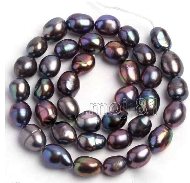 """ジュエリー真珠のネックレス本物の 9-10 ミリメートル自然な黒オーバル淡水真珠ルースビーズストランド 15 """"送料無料"""