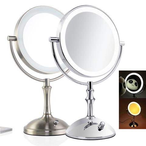8 desktop 8 Polegada espelho de maquiagem 2 face espelho de metal 3x 5x 10x