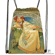 Custom Alphonse Mucha Job Skot Drawstring Backpack Bag for Man Woman Cute Daypack Kids Satchel Black
