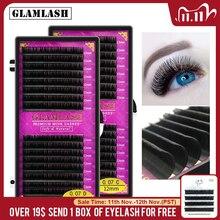 GLAMLASH 16Rows premium sable false natural matte black eyelash extension wholesale eye lashes extension cilia makeup eyelashes