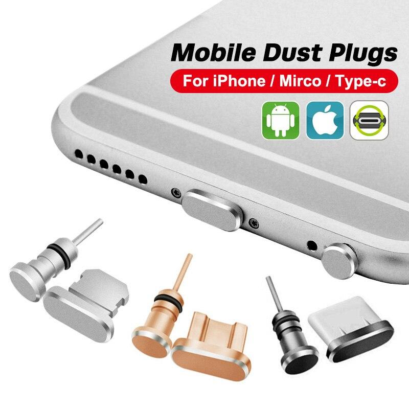 ANMONE-puerto de carga Micro USB tipo C, Conector de metal antipolvo, para teléfono android, Samsung, Huawei y Xiaomi