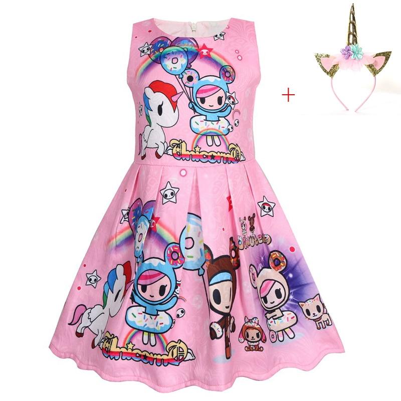 2020 Girl Unicorn Birthday animal print Party Dress With Matching Headband Flowers Girls Pony Unicorn Theme Halloween Costume 1