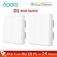 Xiaomi Aqara interruptor de pared D1 inteligente Zigbee línea cero fuego de luz de Control remoto inalámbrico tecla interruptores WiFi con/NO Neutral