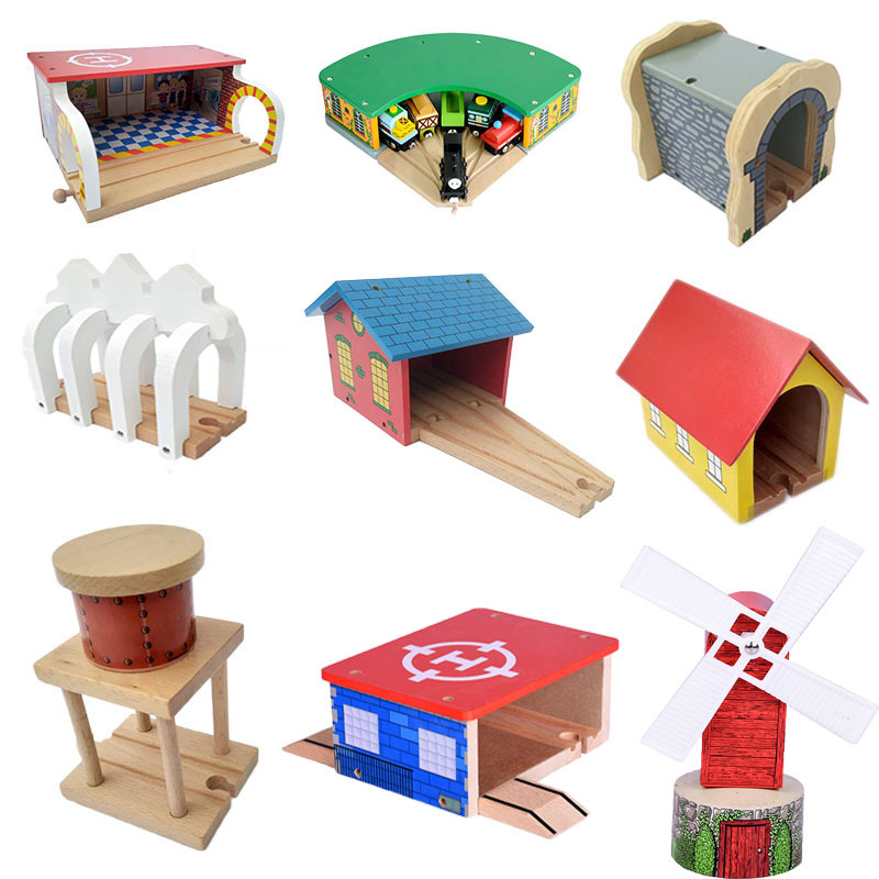 Wooden Railway Scene Bridge Track Accessories Decoration Accessories Compatible With Wooden Magnetic Track Train Track Toys