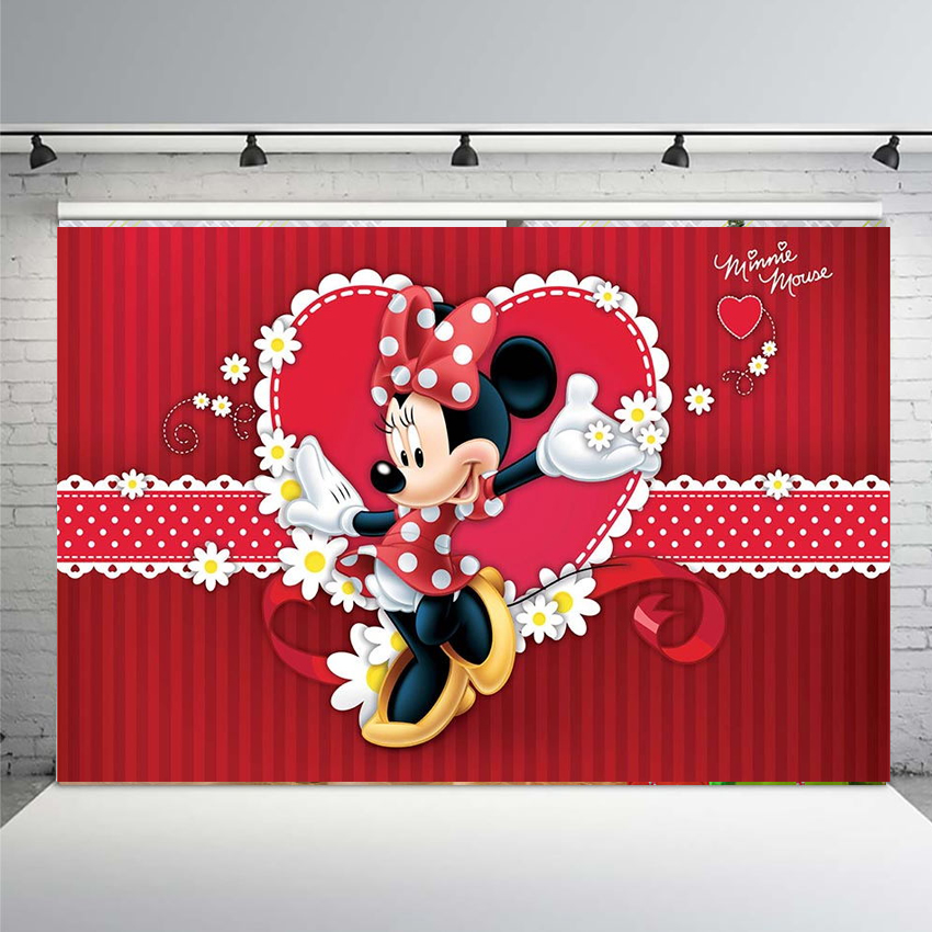 Vinyl Photography Background Newborn Birthday Party Red Micky Minnie Dance Flowers Happy Birthday Party Banner Backdrops Background Aliexpress