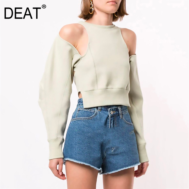 DEAT 2020 New Spring And Summer Full Sleeves Round Neck Design Styles High Waist Hollow Out Back Short Sweatshirt WM19806L