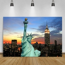 Laeacco American Statue of Liberty Night Fireworks Sunset Scenic Photography Backgrounds Persoanlized Backdrops For Photo Studio