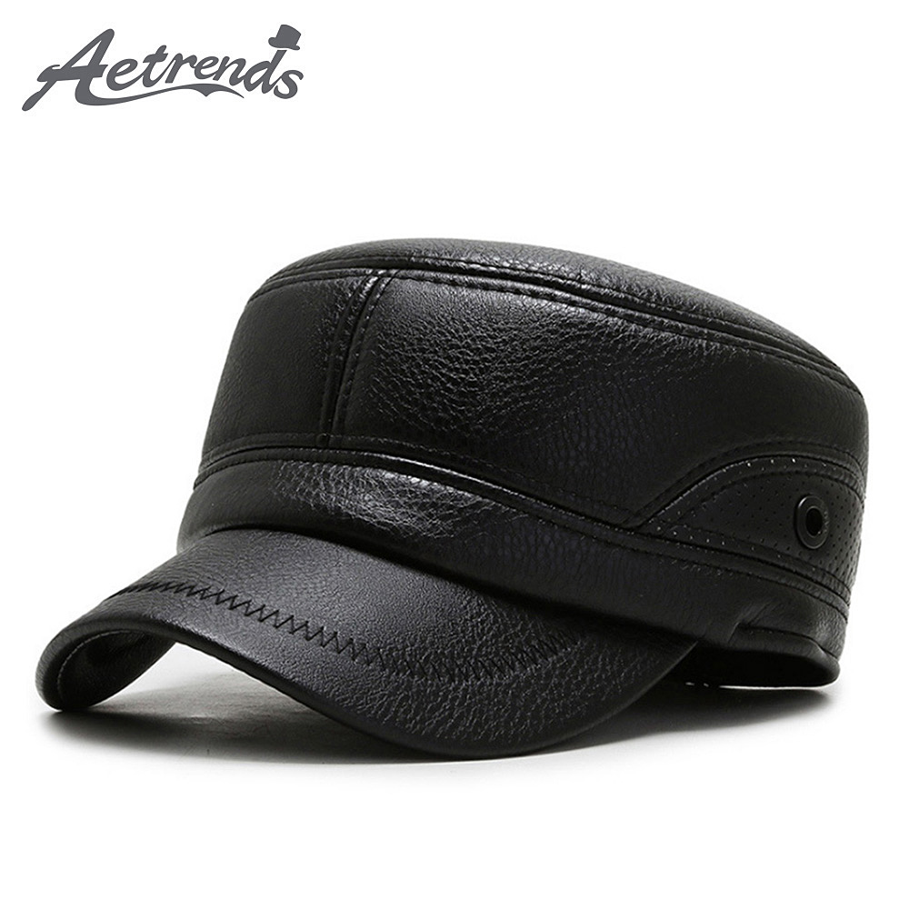[AETRENDS] Winter PU Leather Cap With Earflap Military Hats Cadet Army Flat Top Hat Outdoor Z-10062
