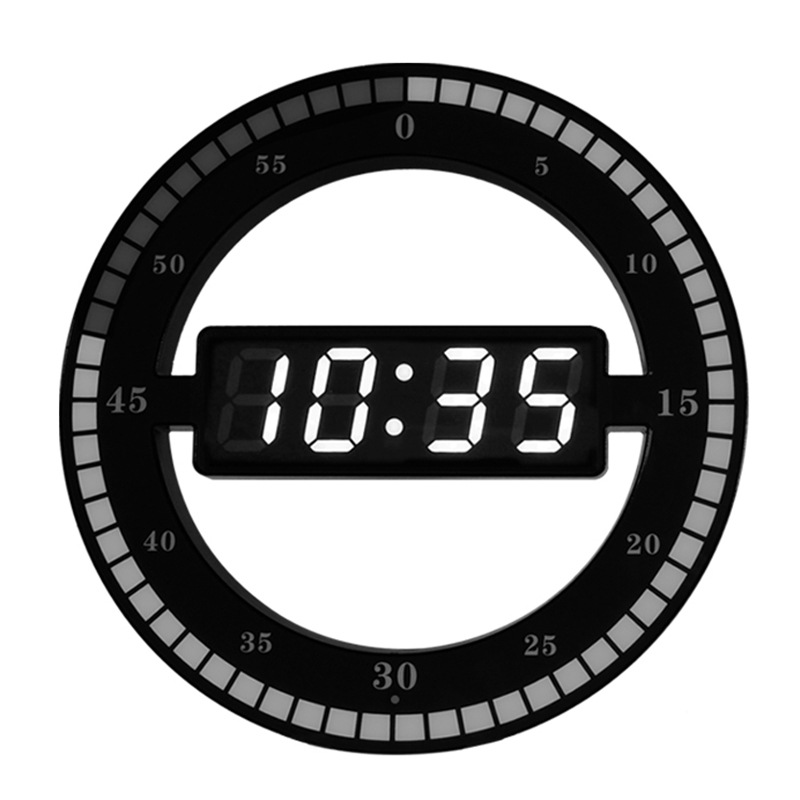 Electronic Clock 3D Hollow LED Digital Automatic Adjustment Brightness Round Home Wall Clock With US Plug Black Plastic