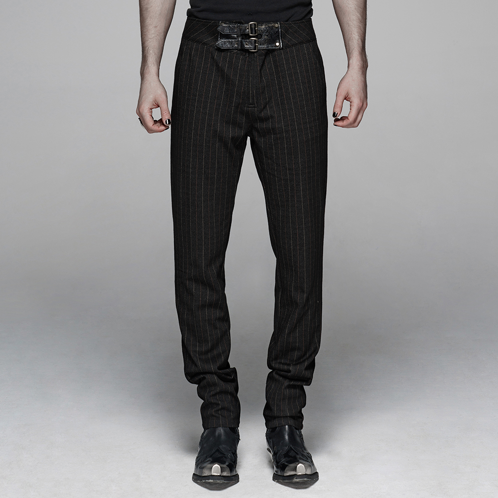 PUNK RAVE Men's Gentleman Style Vertical Trousers Elastic Knitted Vertical Long Pant Casual Personality Handsome Mens Pants
