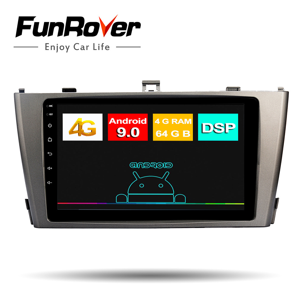 Funrover 4+64G ROM <font><b>Android</b></font> 9.0 car radio Car DVD Player For <font><b>Toyota</b></font> Avensis <font><b>T25</b></font> 2003-2008 Auto Radio GPS Navigation Video Audio image