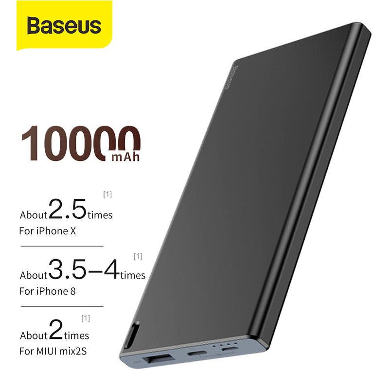 Baseus Slim 10000mAh Power Bank Fast Charging Power Bank for iPhone Xiaomi Mi 9 Samsung External Battery Portable Charger|Power Bank| |  - title=