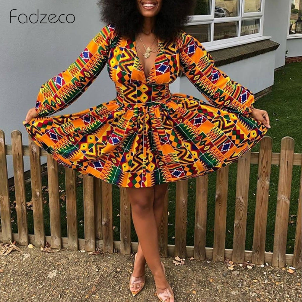 Fadzeco African Dresses For Women Dashiki Bazin African Print Lattern Sleeve Sexy V Neck Backless Pleated Mini Dress