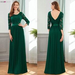 Image 5 - אלגנטי תחרת שושבינה שמלות אי פעם די EP07412 אונליין O צוואר 3/4 שרוול סקסי חתונת אורחים שמלות Vestido דה Festa לונגו