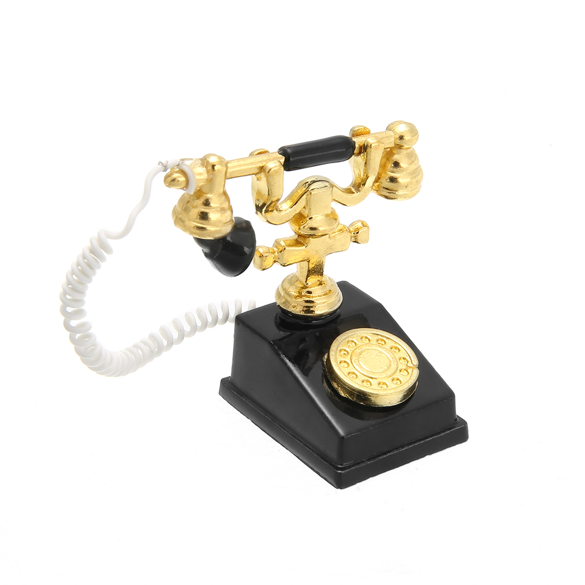1pcs Retro Metal Phone Telephone For 1:12 Scale Dollhouse Miniature Accessories Decor Miniature Retro Phone Vintage Telephone