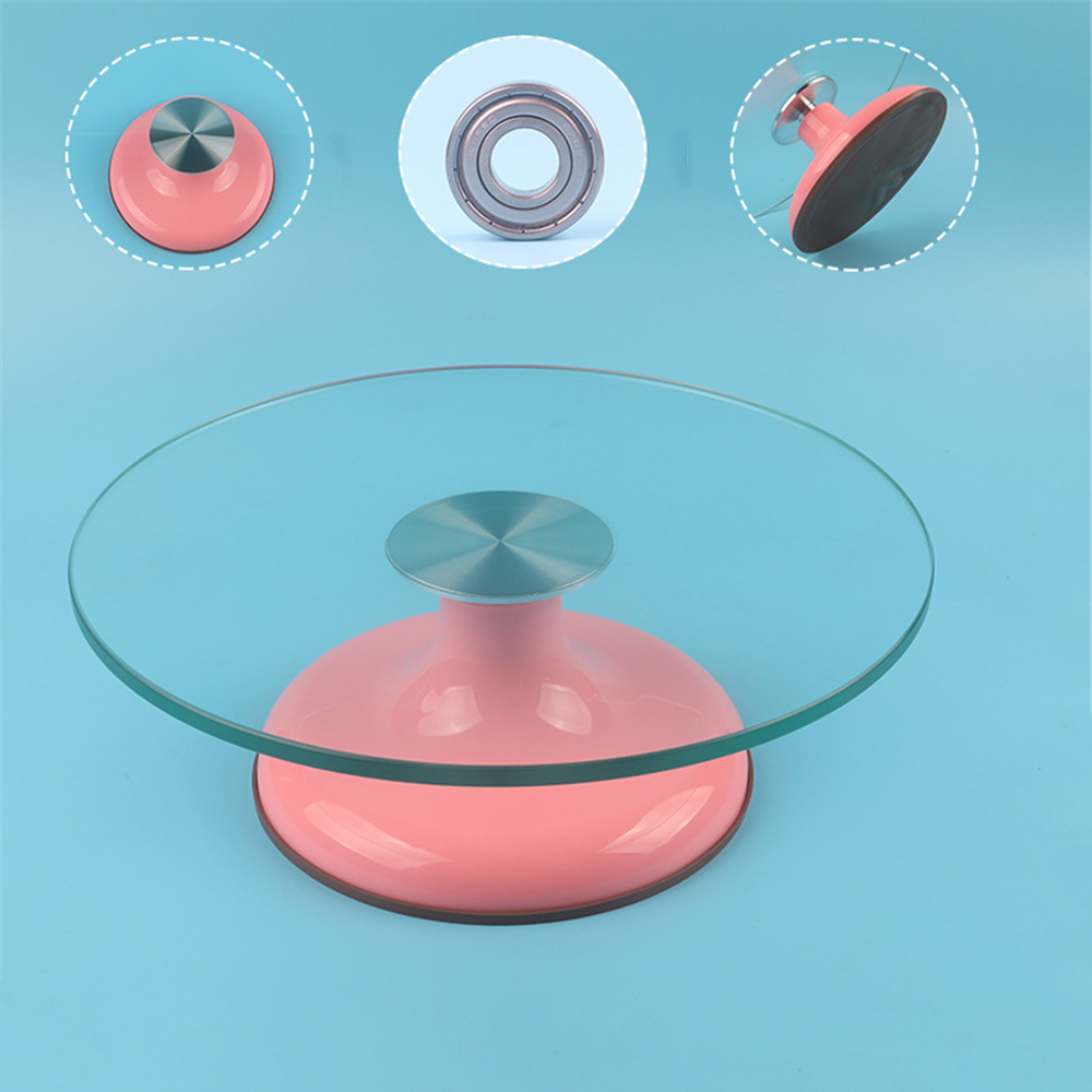 12 Inch Glass Platform Cake Turntable Double Stainless Steel Bearing Rotating Table Cake Decorating Tools Rotary Base Bakeware