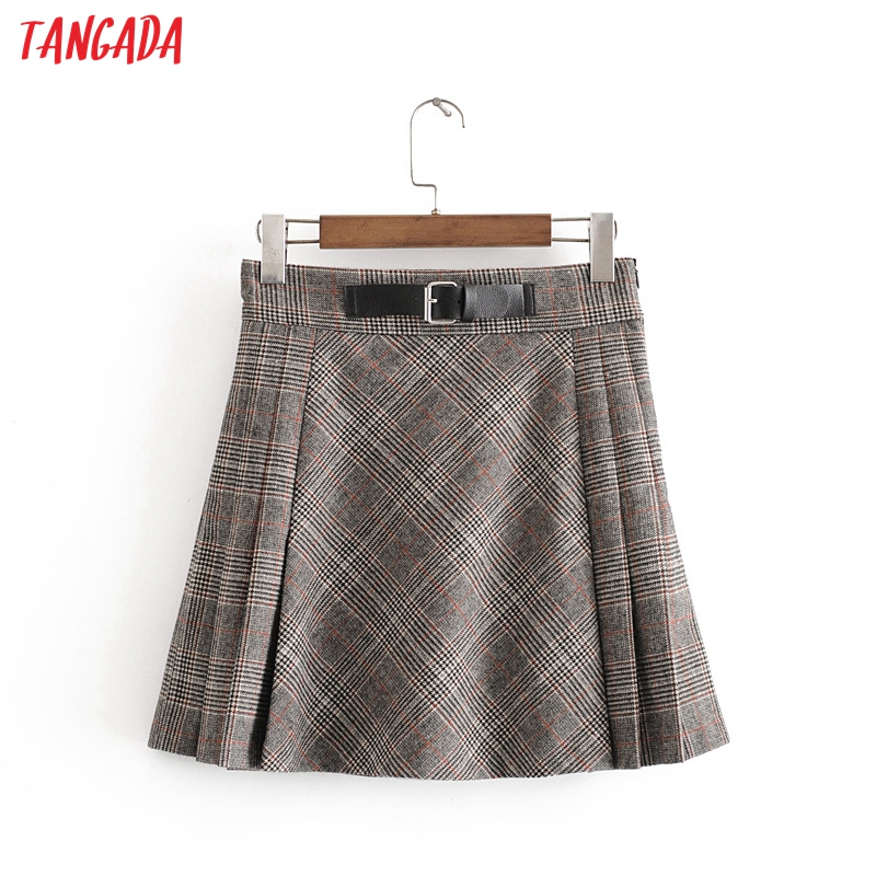 Tangada Women Tweed Plaid Pleated Mini Skirt With Belt Zipper Female Office Lady Stylish Chic A Line Skirts 3H310