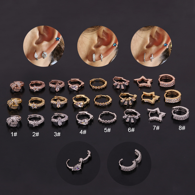 Sellsets New Arrival 1pc Cz Hoop Cartilage Earring Helix Tragus Daith Conch Rook Snug Lobe Ear Piercing Jewelry
