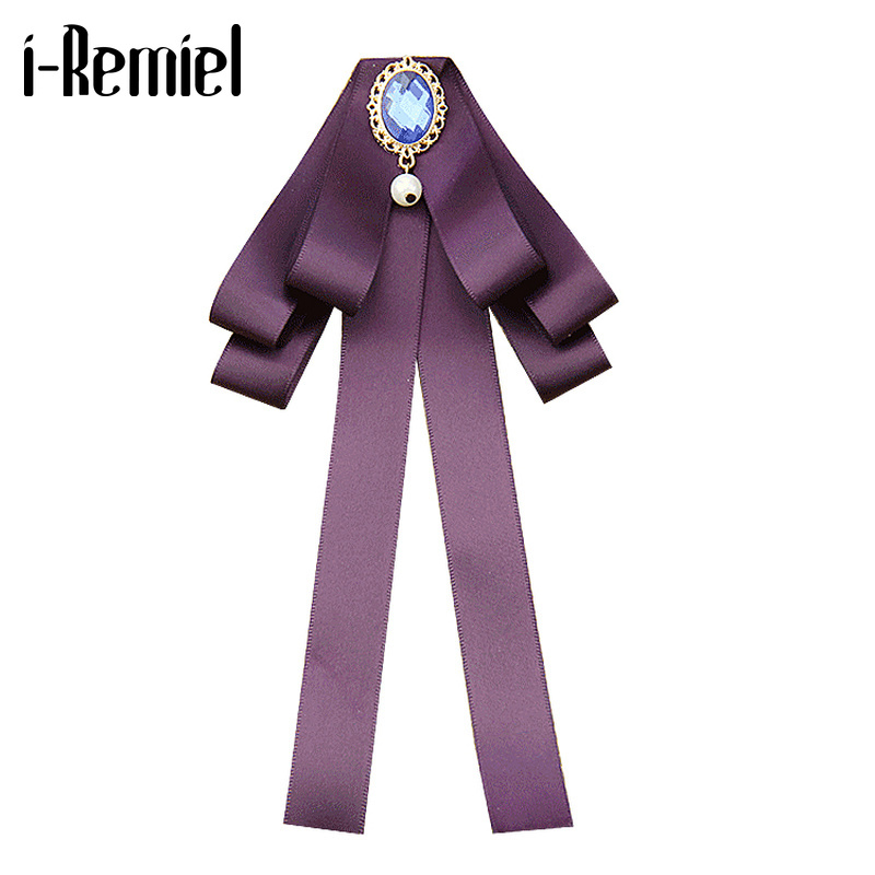 I-Remiel Women's Bow Tie Blouse Women's School Bows Ties British Style Ribbon Bowtie Collar Flower Decoration Shirt Accessories