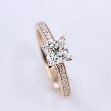 Sterling Silver 10k 14k yellow gold 0.8ct 5mm Princess side Moissanite Ring DEF Color VVS1 Wedding Engagement Ring For Women(China)