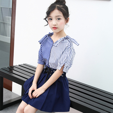 set summer for girl 2020 girls kids fashion 2 pieces shirt + skirt 4 8 10 12 13 years children clothes teen girl summer sets children s garment girl summer wear children suit new pattern child nail bead skirt 2 pieces kids clothing sets
