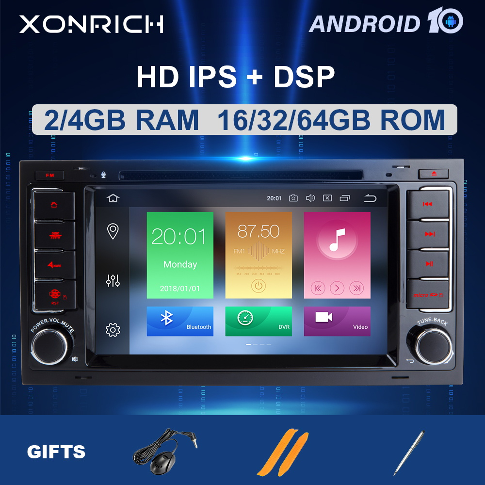 ZLTOOPAI Car Multimedia Player for VW Volkswagen TOUAREG T5 Transporter Android 10 Octa Core 4G RAM 64G ROM 7 Inch IPS Double Din Car Radio Audio Stereo GPS Navigation