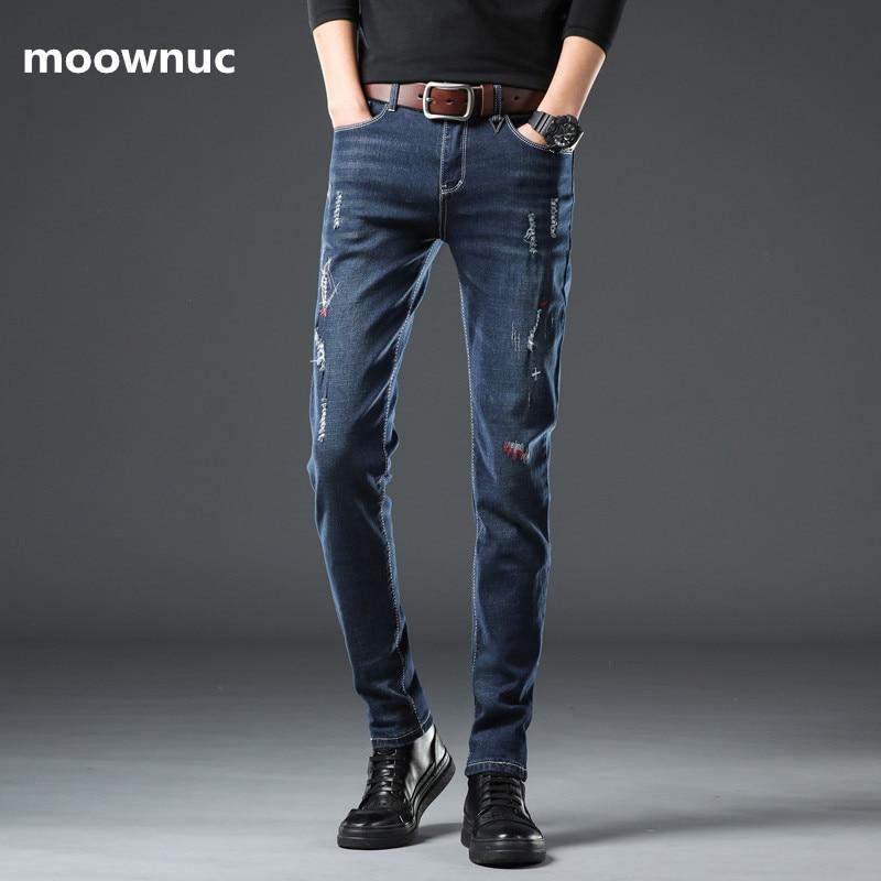 2020 Spring New Arrival Jeans Men Fashion Elasticity Men's Jeans Male High Quality Slim Cotton Jeans Pants,Blue, Black