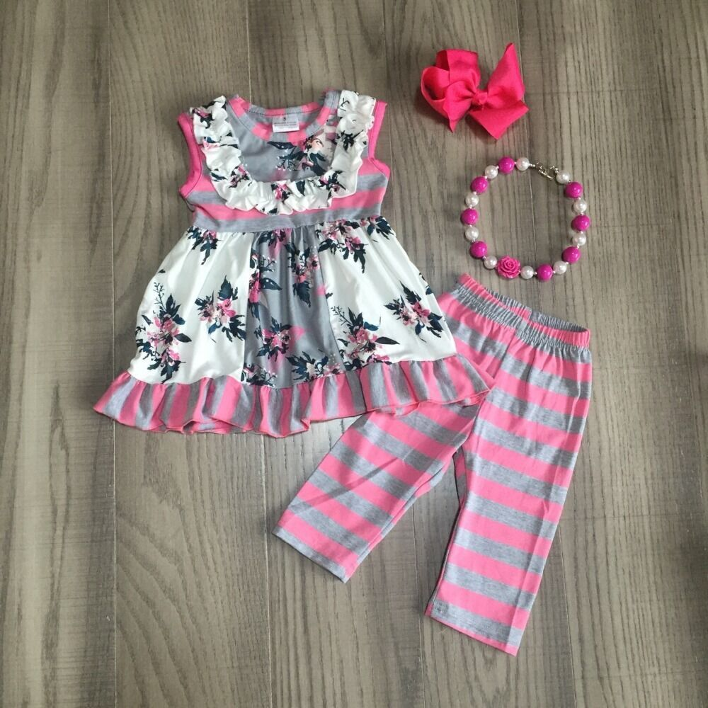 Baby Girl Girls Floral Outfits Floral Dress With Stripe Rose Red Capri Pants Girls Outfits With Accessories