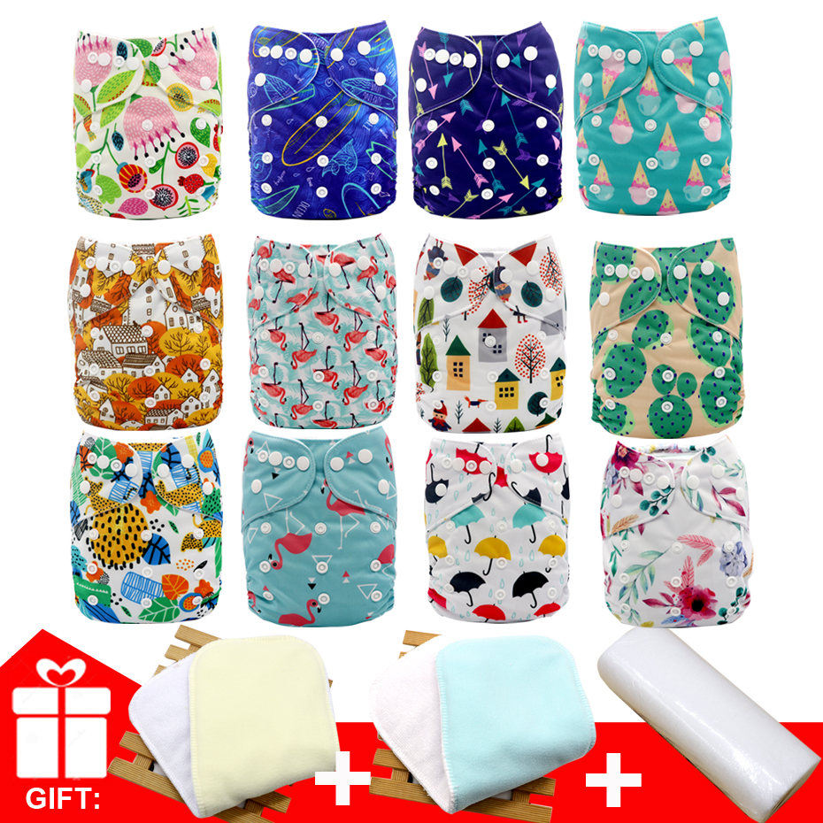 MABOJ Reusable Diapers Cloth Diaper Set 12pcs Baby One Size Adjustable Washable Reusable Cloth Nappy For Baby Girls And Boys