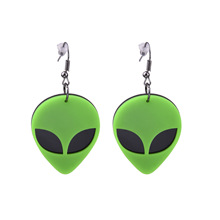 Green Alien Head Earring Personality Acrylic Women Drop Earrings Night Club Hip Hop Jewelry