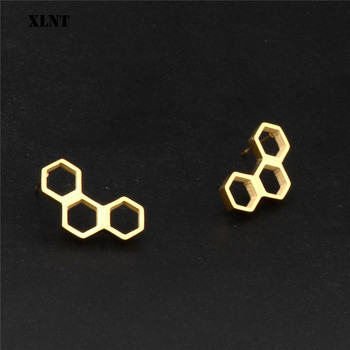 XLNT 2019 moda molécula de serotonina escaladores de oído para las mujeres Estructura de Química ciencia pendientes sobre orugas regalo Brincos