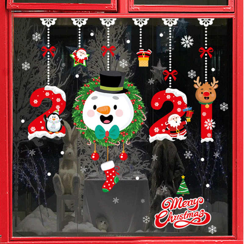 عيد ميلاد سعيد ملصقات سانتا كلوز الغزلان شجرة عيد الميلاد Frozens ندفة الثلج ملصقات نافذة الحائط الحلي نافيداد 2021 السنة الجديدة ديكور