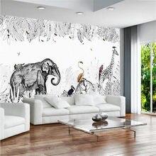 Milofi personalizado 3d simples pintados à mão pequeno fresco elefante girafa europeu papel de parede mural tv fundo da