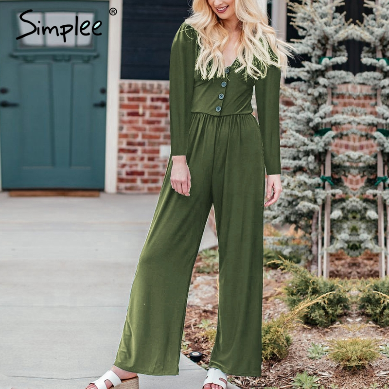 Simplee Sexy V-neck Women Jumpsuit Solid Autumn Fashion Female Green Jumpsuit Casual Office Ladies Streetwear Long Jumpsuit 2019