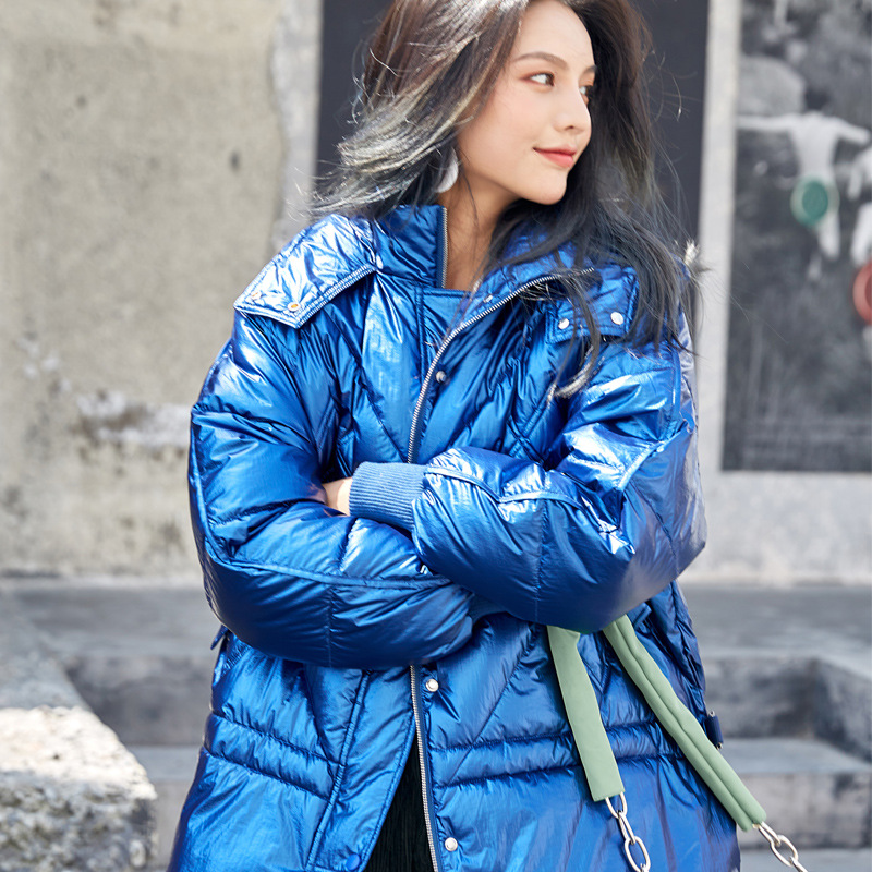 2019 New Style Down Jacket Women's Fashion Bright Surface Down Coat Cool Fashion-Coat