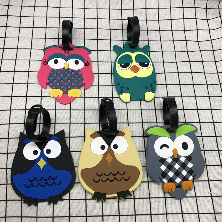 2020 Creative Luggage Tag Cartoon Owl Silica Gel Suitcase ID Address Holder Baggage Boarding Tags Portable Label
