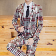 Suit suit new Korean mens slim plaid padded single-breasted 3-piece (coat + trousers vest) groom wedding dress