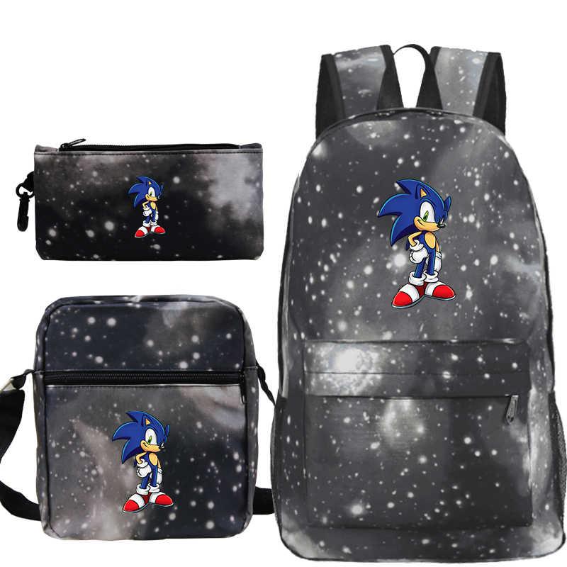 Plecak Sonic The Hedgehog Rugzak Sac A Dos Mochila 3 stks/set Anime Etui Boekentas Schouder schooltassen