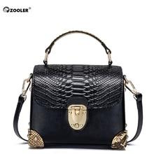 ZOOLER brand women genuine leather shoulder bag serpentine pattern small handbag casual tote lady crossbody Wine#106