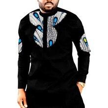 African print long shirts mens fashion patchwork slim design dashiki shirt custom african clothing